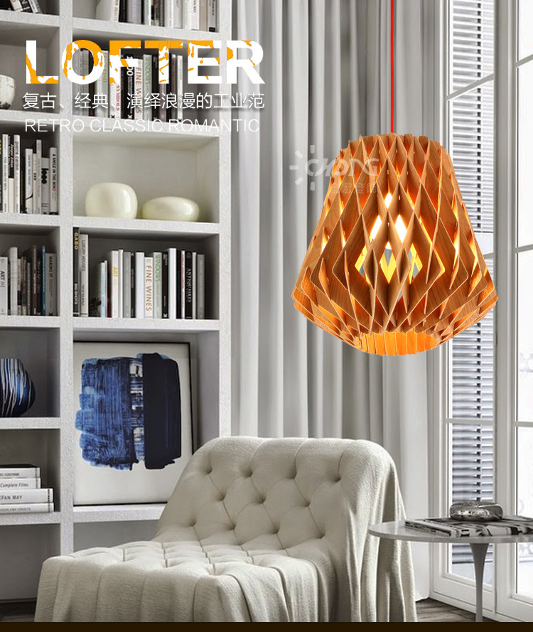 Modern Home Creative Personality Wooden Net Diner Pendant Lamp Wood Living Room Lamp Bedroom Lamp  AC90-265V Free Shipping