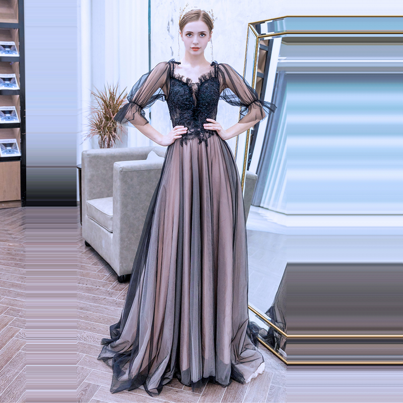 Evening Dress Sexy Tulle Backless Robe De Soiree 2019 Long Plus Size Women Party Dresses Three quarter Sleeve Evening Gowns E640 in Evening Dresses from Weddings Events