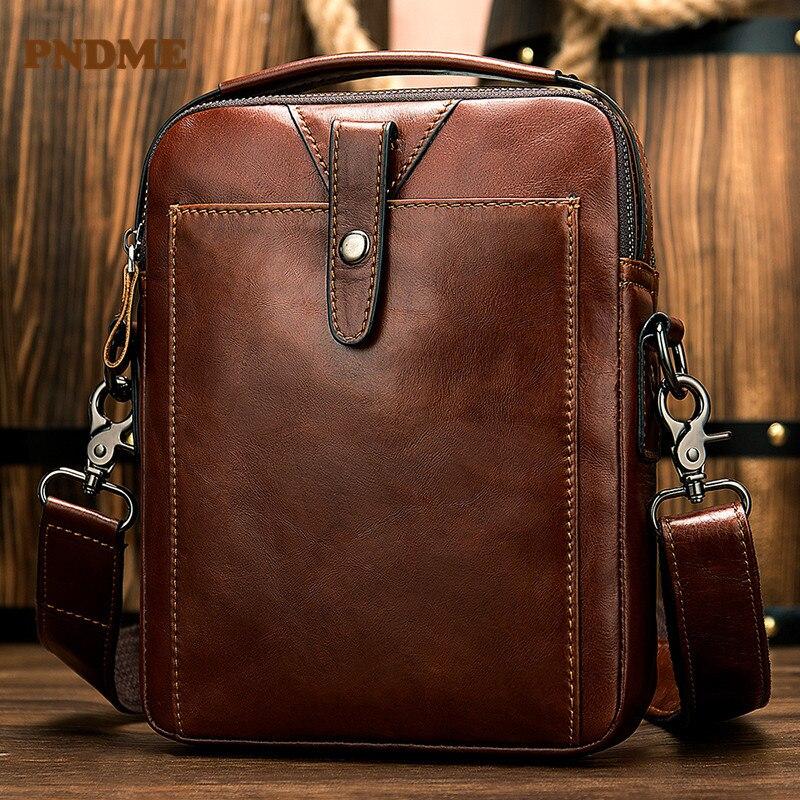 PNDME première couche en cuir sac à bandoulière pour hommes rétro décontracté vertical sac à bandoulière affaires multi-fonction sac à main