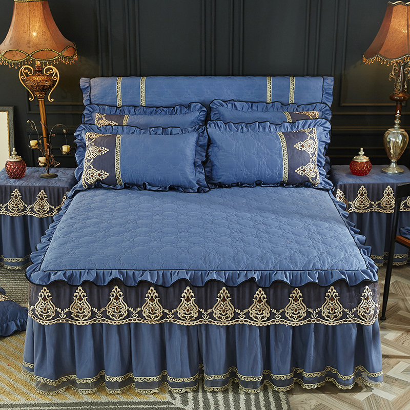 Beige Blue Princess Lace Bedding Bed Skirt With Cotton Thicker Warm Bedspread 1/3pcs Winter Bedclothes Bed Sheet Pillowcases