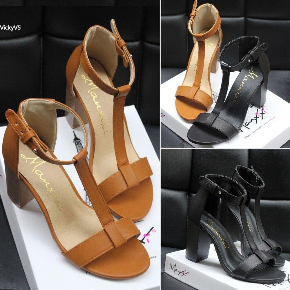European sandals shoes - Plus Size Women S Summer Sandals European Pu T Strap Lady High Heels Sandals Shoes Party
