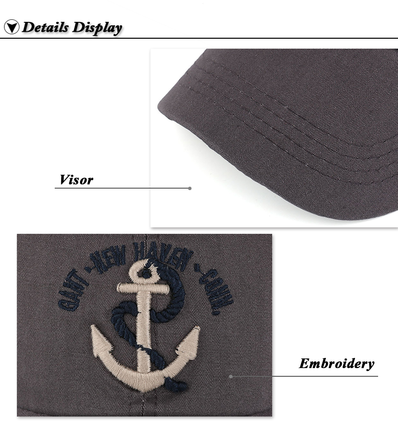 Embroidered Anchor & Rope Baseball Cap - Brim and Embroidery Details