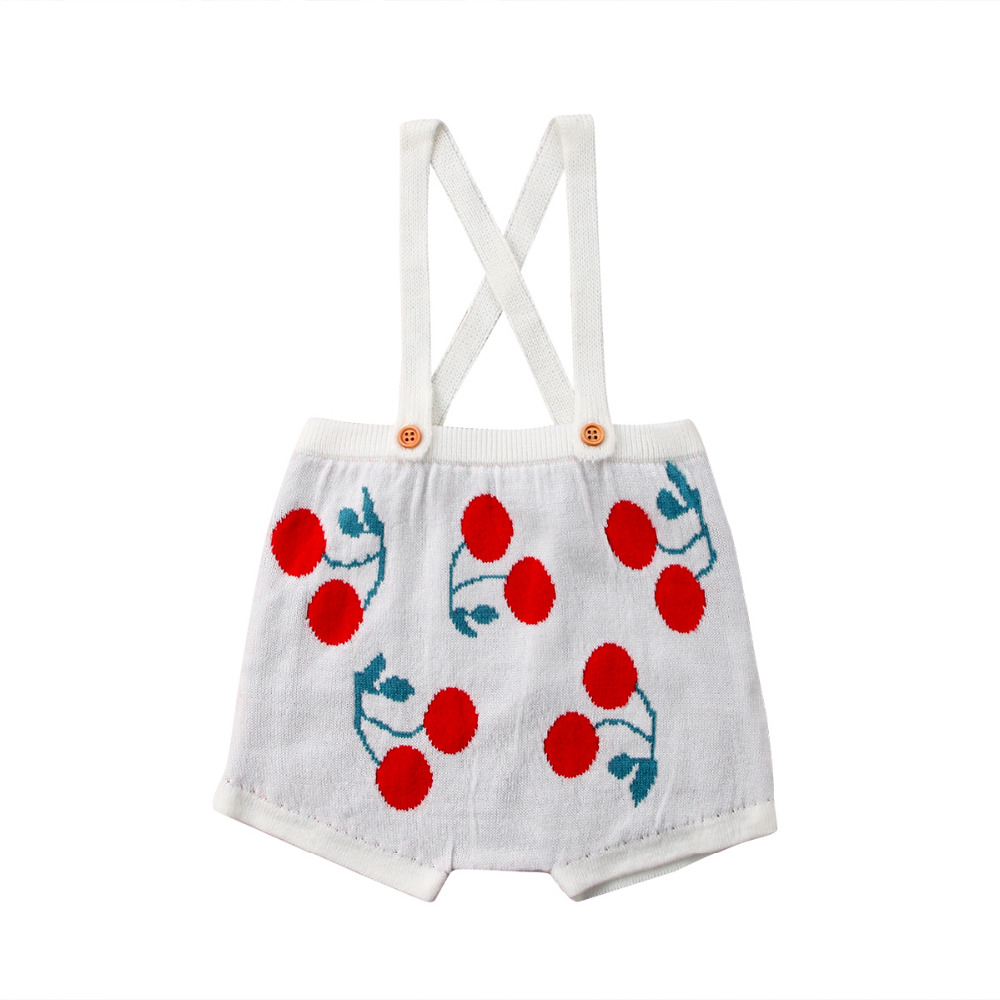 8e3a6bc79a0 knitting Baby Girls Knit Overall Suspenders Bib Shorts Cherry Romper  Outfits Costume baby clothing -in Rompers from Mother   Kids on  Aliexpress.com ...