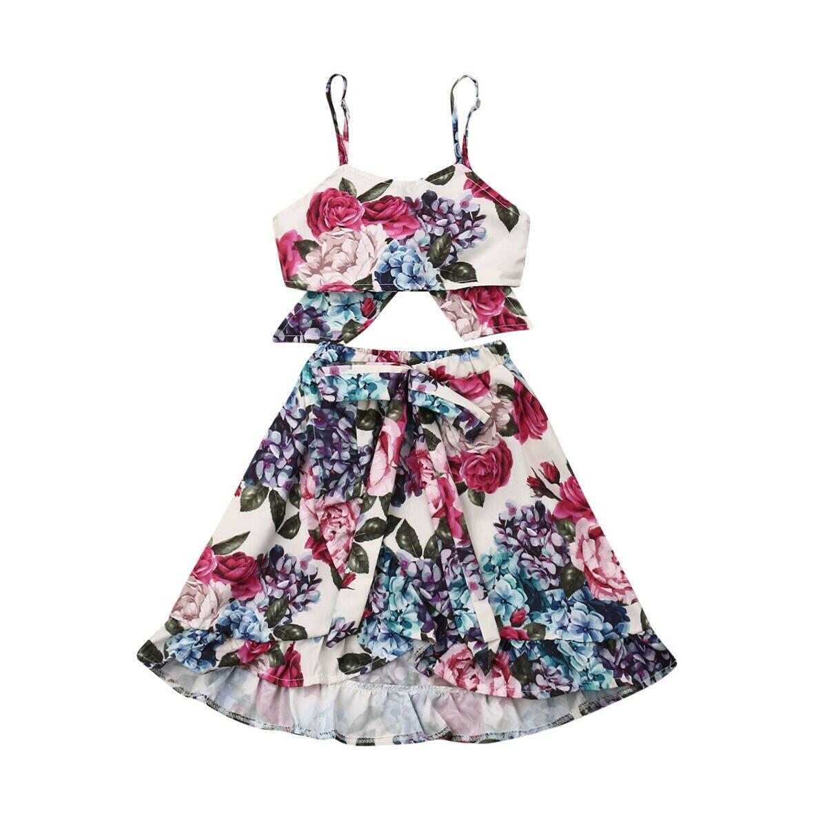 1-6Y Summer Toddler Kids Baby Girl Floral Strap Crop Tops Long Skirt Bowknot 2PCS Outfits Princess Girls Boho Clothes Set