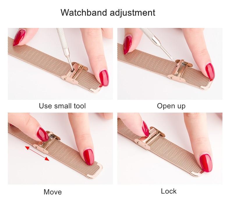 mouse relógios femininos de couro inoxidável senhoras