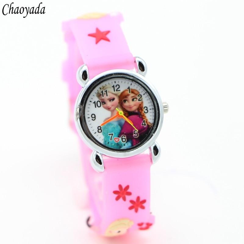 3D Cartoon Lovely Kids Girls Boys Children Students Quartz Wrist Watch Very Popular Watches ELSA And ANNA Princess Style