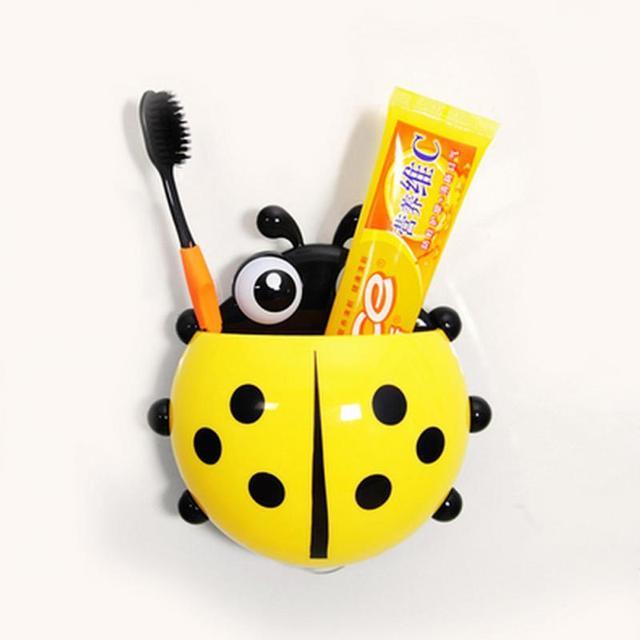 Cartoon Cute Ladybug Sucker Toothbrush Holder suction Hooks / Household Items / toothbrush rack / bathroom sets