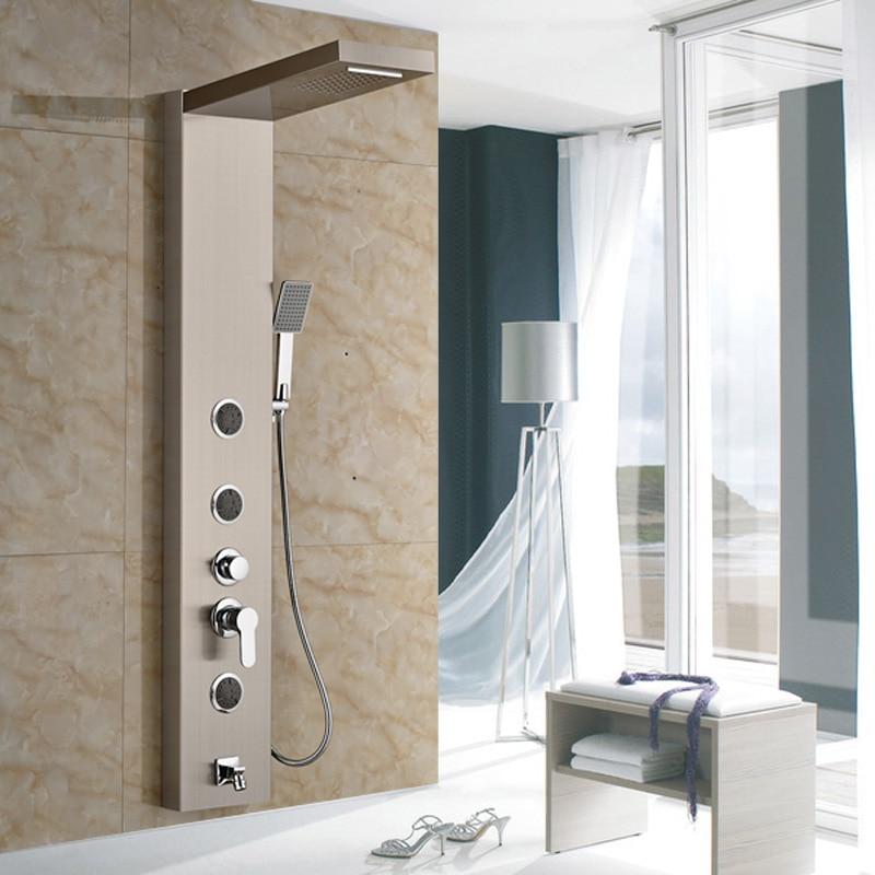 New Arrival Best Design Brushed Nickel Wall Mounted Bathroom Shower Column & Shower Faucet sognare new wall mounted bathroom bath shower faucet with handheld shower head chrome finish shower faucet set mixer tap d5205