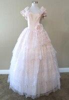 Розовый Многоуровневое Кружева Платье Гражданская война костюм ренессанс атласное платье дрес