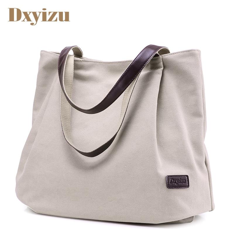 Women Daily Canvas Shoulder Bags Big Size Vintage Travel Tote Large Capacity Women Handbag Solid Casual Multifunctional Bolsos