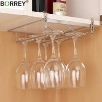 BORREY Stainless Steel Wine Rack Holder Goblet Champagne Glass Cup Holder Kitchen Cabinet Hanging Storage Wine Holder Rack Metal