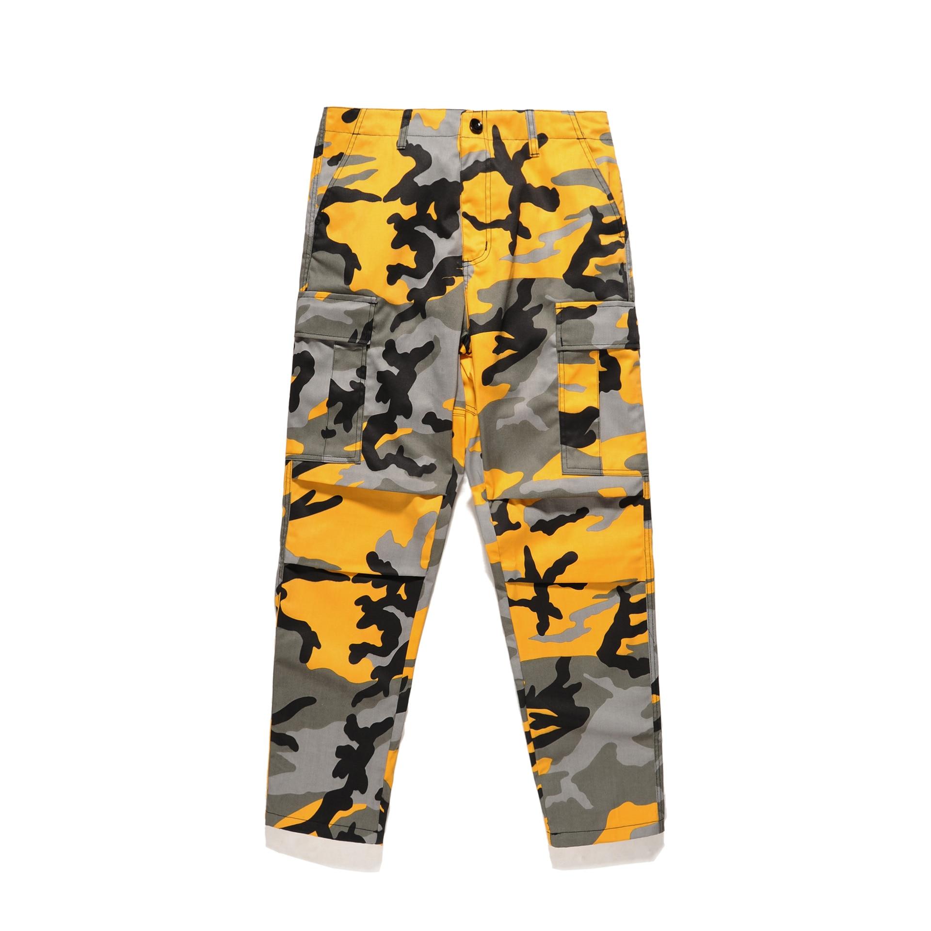 31dacceb8d 2018 Tri Color Camo Patchwork Cargo Pants Mens Hip Hop Casual Camouflage  Trousers Fashion Streetwear Joggers Sweatpants