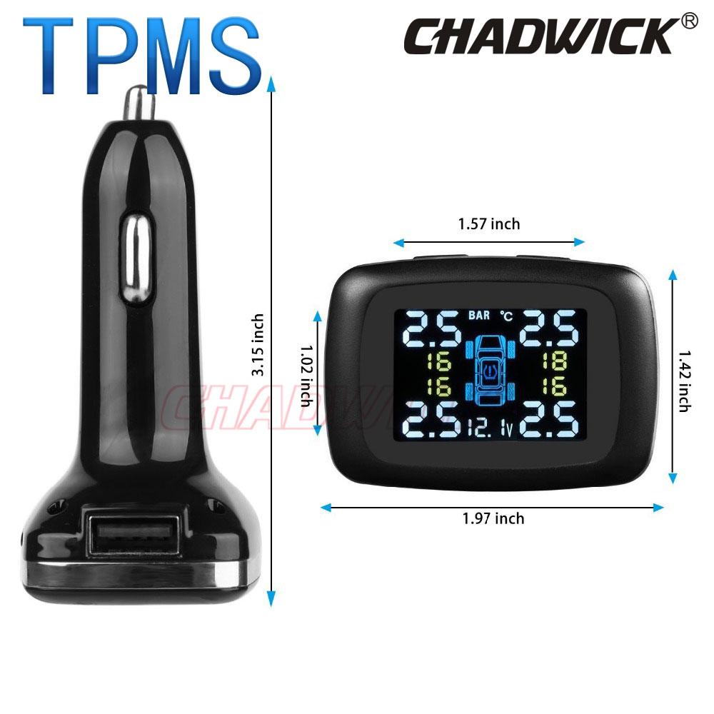 Image 2 - TPMS Wireless Digital Tire Pressure Monitoring System 12V External Sensor Car Alarm accessory safety CHADWICK TP620 cigarette-in Tire Pressure Alarm from Automobiles & Motorcycles