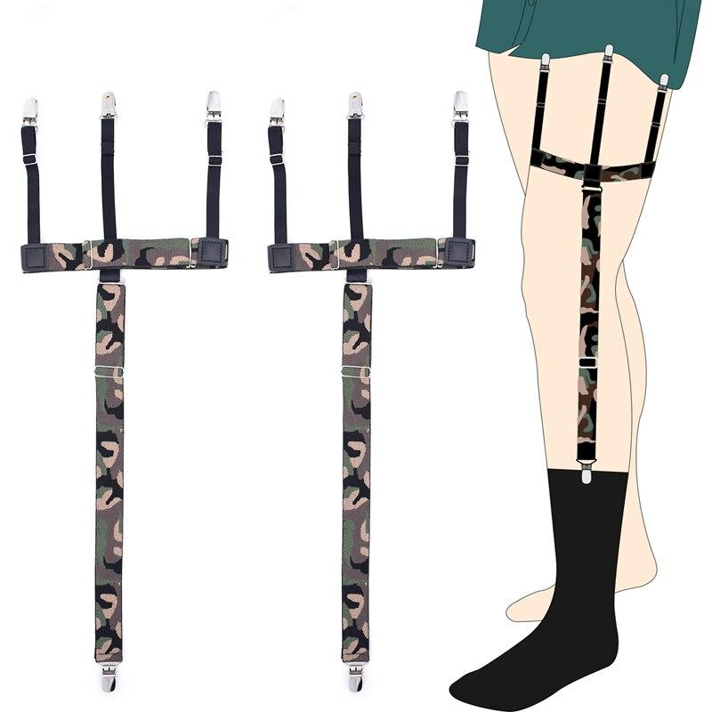 Camouflage Garters Shirt Stays Holder Womans Duck Clips Shirt Braces Elastic Uniform Strap Shirt Garters 3 Clips Suspenders