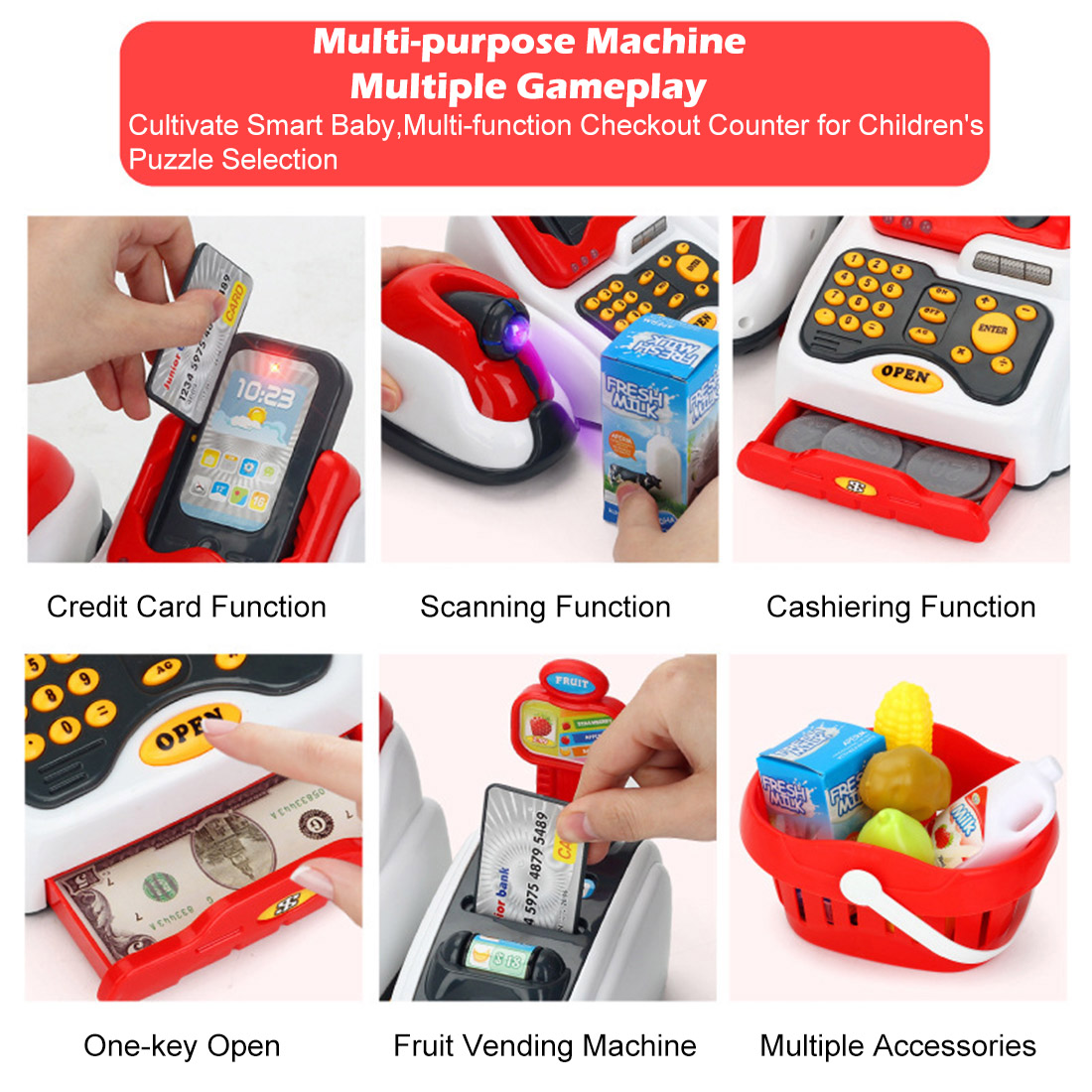 Rowsfire Lovely Children Pretend Play Toys Classic Supermarket Cash Register Toy for Children Cute Pattern Design Karachi