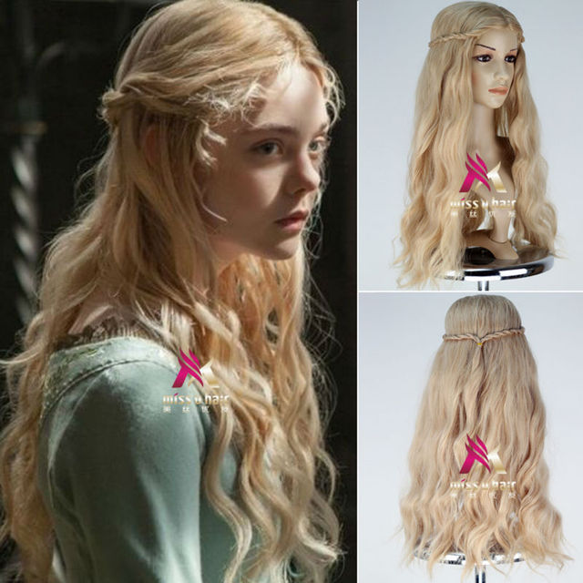 New Movice Maleficent Wig Princess Aurora Wig Long Wavy Mixed Blonde