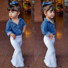 2019 Newborn Infant Baby Boys Girls Denim Tops Shirt+Loose Pants Outfits Sets roupas infantis menina(China)