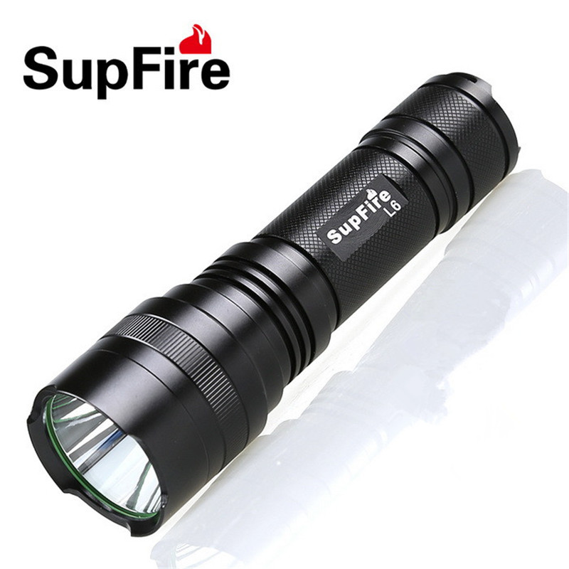Supfire LED Flashlight Torch L6-XPE CREE-XPE 300LM Aluminum IP6-7 Waterproof Camping Original Portable light with 26650 S001