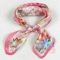 """2014 Moda """"H"""" Design de estilo 100% lenço De Seda Para As Mulheres, 52 cm Outono Inverno Venda Quente Do Sexo Feminino Rosa Lenço Quadrado Impresso Fo primavera"""