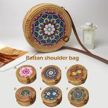 Women Fashion Handmade Straw Rattan Woven Shoulder Bag Summer Bohemian Ethnic Style Beach Crossbody Bags Vintage Flower Handbag