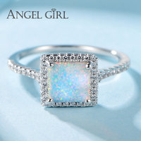 Angel Girl Classic 100 925 Sterling Silver Vintage Square Fire Opal Finger Ring Women Luxury Jewelry