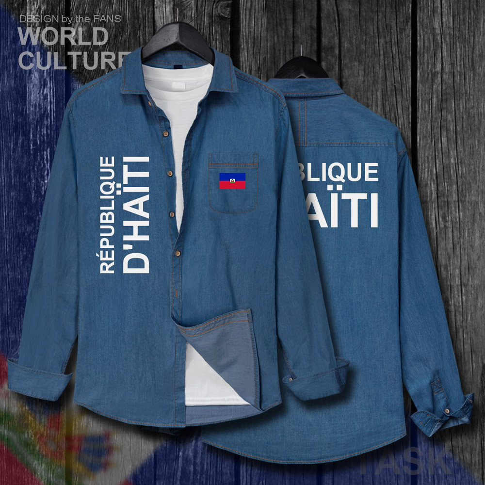 Dedicated Haiti Haitian Hayti Ayiti Men Clothes Spring Autumn Cotton Turn-down Collar Jeans Shirt Long Sleeve Fashion Tops Cowboy Coat New Casual Shirts Shirts
