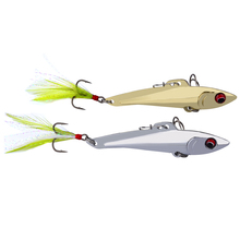 1PC Pencil-VIB Fishing Lures 7cm-8cm/15g-20g Bass Bait 6# High Carbon Hook with Feather 2 Colors Metal Bait Fishing Tackle