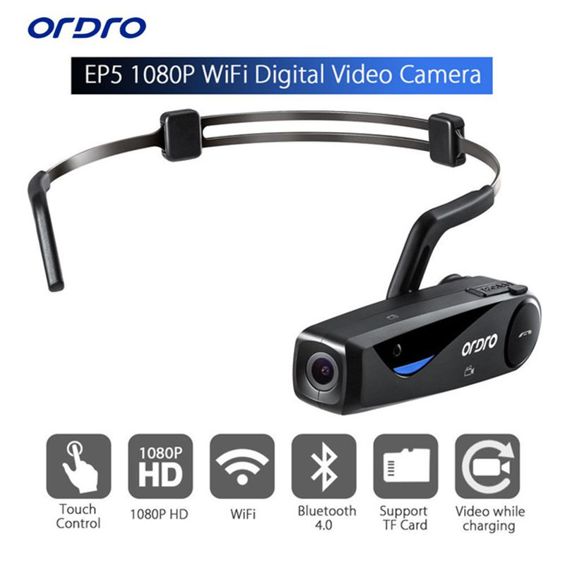 Bone Conduction ORDRO EP5 Bluetooth 4 .0 Hand Free Head Band Action Mini DV Camera Consumer Camcorders with earphone WiFi Free