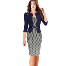 Womens Elegant Faux Twinset Belted Tartan Floral Lace Leopard Dot Patchwork Wear to Work Business Pencil Sheath Bodycon Dress