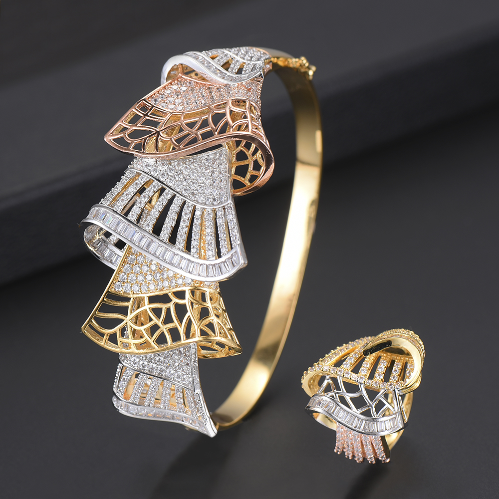 Luxury Geometric Shape CZ Bracelet Resizable Ring Jewelry Sets For Nigerian Women Full Cubic Zirconia Inlaid Jewelry Sets цены