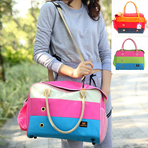 Cats Or Dogs Shoulder Bag Dog Sling Bags Stripped Pink Blue Green Pet Carriers Fashion S M L Oxford Handbag for Pets Dogs