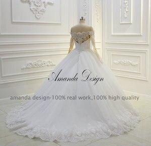 Image 5 - Amanda Design Off Shoulder Long Sleeve Lace Applique Pearls Ball Gown Wedding Dress