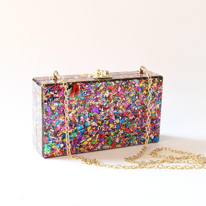 Caixa de acrílico colorido embraiagens metal fecho