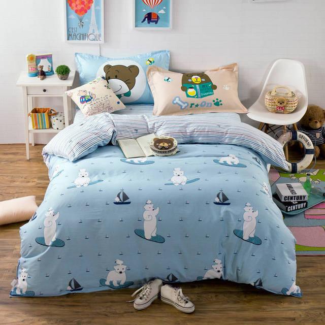 aa0a49da4 Adolescentes Urso Polar Impressão Barco Jogo De Cama Luz Azul Dos Desenhos  Animados Roupa de Cama