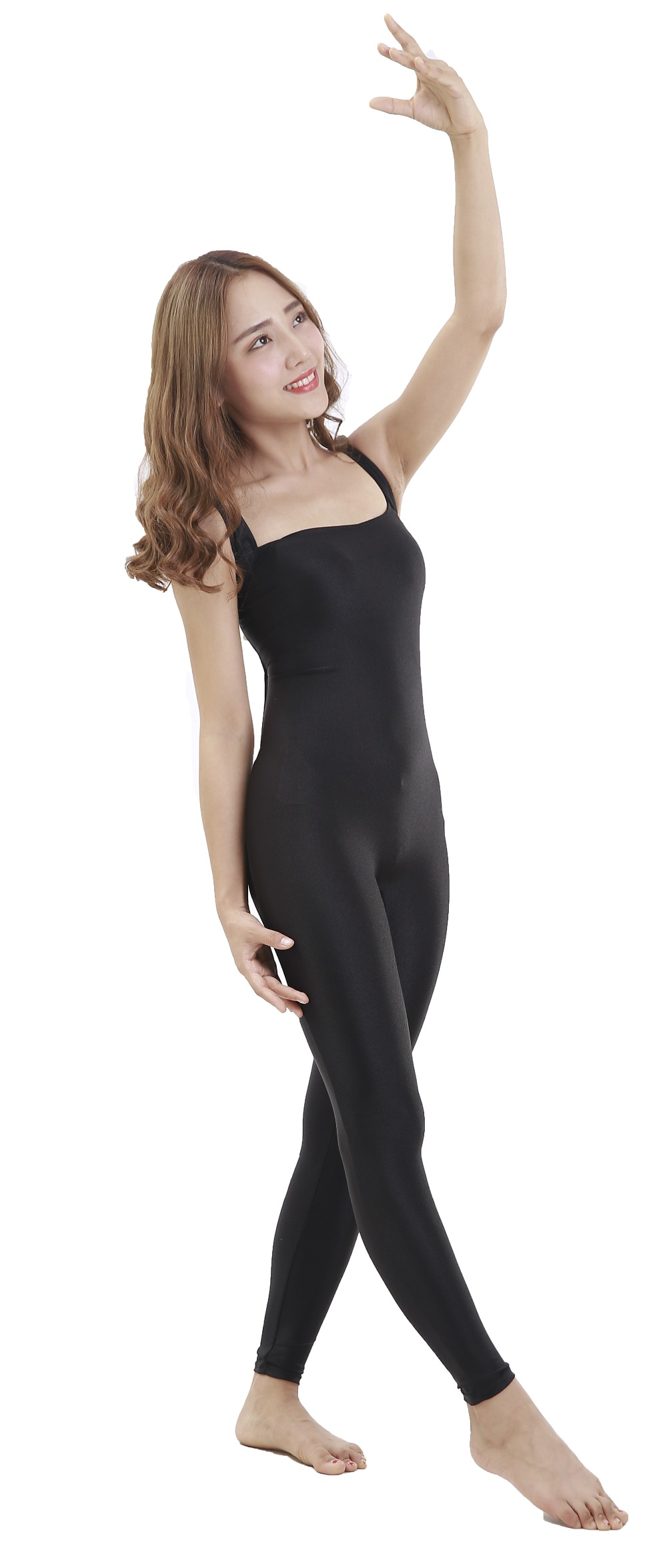 largas volta quadrado pescoço bodysuit dança bodysuit completo