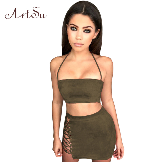 Artsu Hollow Out Lace Up Two Piece Set Sexy Crop Top Skirt Ribbed