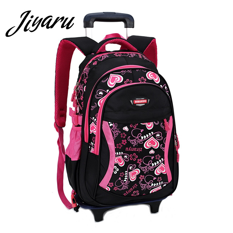 Children Backpacks with Wheels Girls School Backpack Removable Trolley Backpacks Bag for Children Teenagers School Students футболка tommy hilfiger mw0mw05243 501 cloud htr