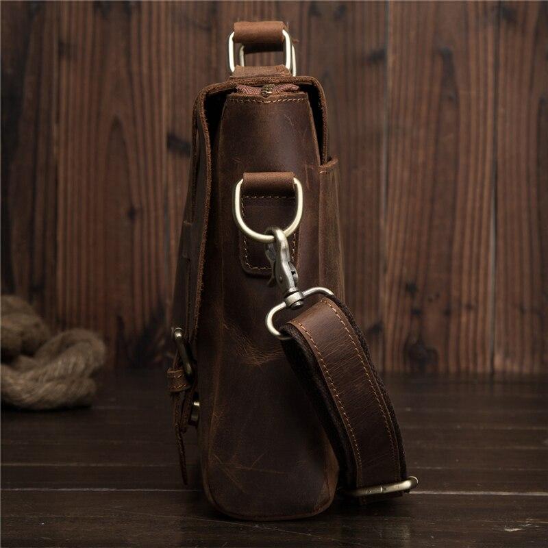 Мужские портфели из натуральной кожи Crazy Horse, сумка через плечо, Ретро стиль, мужская сумка, деловая, дорожная, подарок, Blosa Mochil - 5
