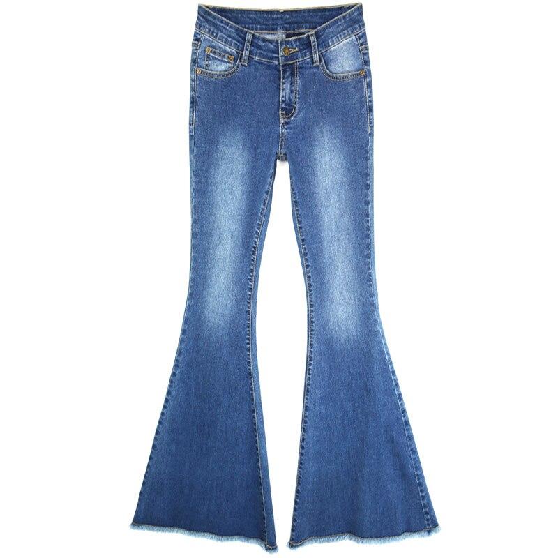 Vintage Ripped Hem Fringe Denim Flare Pants Women Sexy -3097
