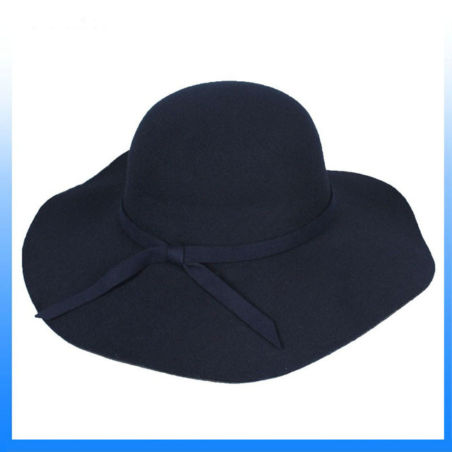 Navy color European British type round top wide brim floppy hat with felt  band and bowknot 081ca2190f4
