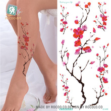 QC658 20X10cm Long Colorful High Solution Sex Products Plum Flower Circle Designer Temporary Flash Tatoo Sticker Taty