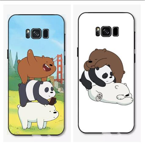official photos 21f4f ec68b US $3.44 18% OFF|The three We Bare Bears Cute cartoon plastic soft silicon  phone cover case for samsung galaxy S8/S9 plus-in Fitted Cases from ...