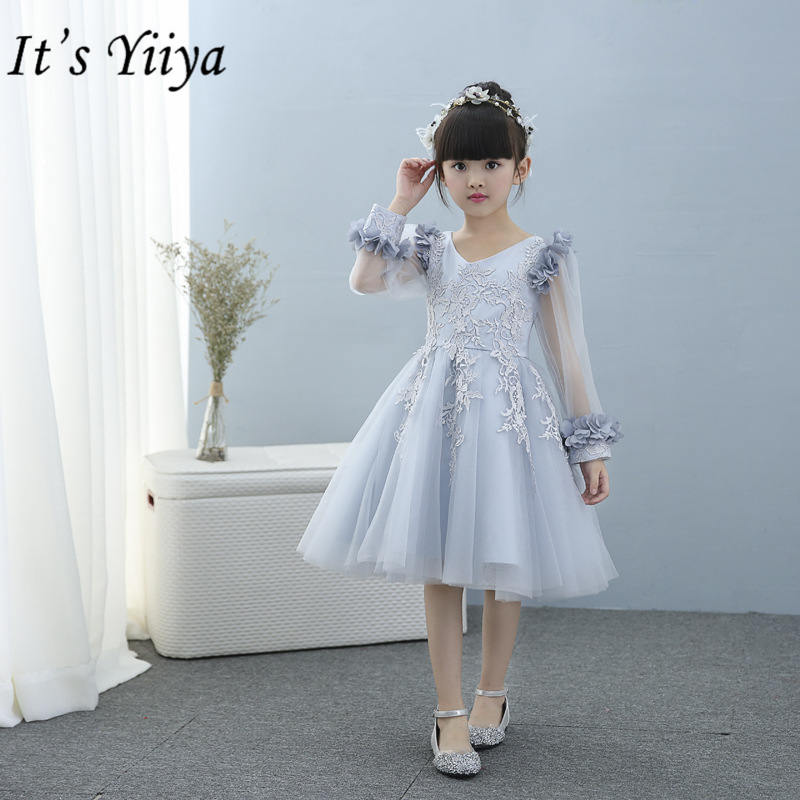 It's yiiya Fashion Patchwork Mesh   Flower     Girl     Dresses   Summer Long Sleeve O-neck   Girl     Dress   TS217