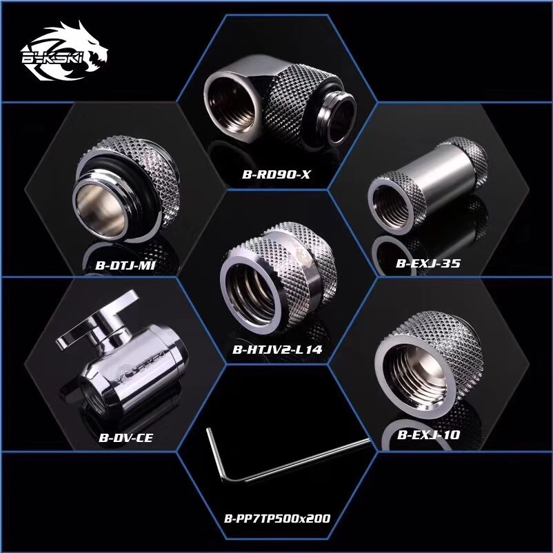 BYKSKI Perak Versi G1 / 4 Plug / Hose Fitting / OD14mm Hard Tube Fitting / Filter / Thermometer / Rotary Fitting / Water Switch