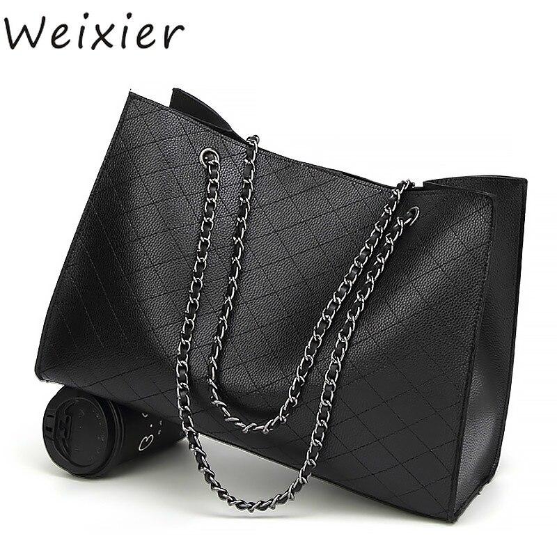 WEIXIER 2019 sacs pour femmes sacs à main de luxe femmes sacs Designer grand fourre-tout sac à main chaîne en cuir sac à main ensemble Bolsa Feminina V1-21