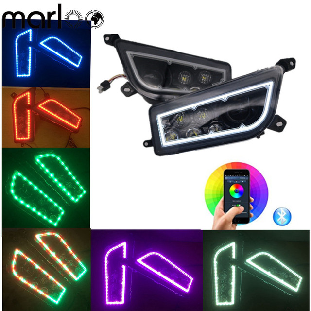 Marloo ATV Polaris Parts 14-17 POLARIS RZR 1000 XP -RGB BLUETOOTH APP LED HALO HEADLIGHTS - Full Angel Eye