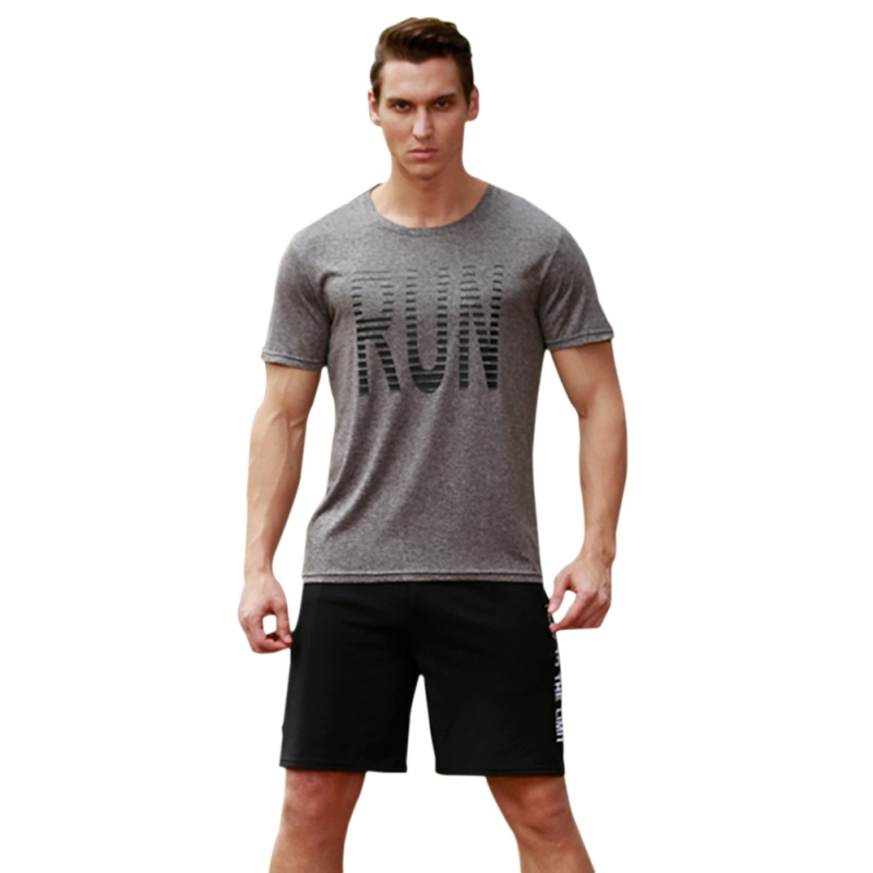 2018 Summer New Short Sleeve T shirt Men's Fitness Slim Elastic Tops Tees Men Fashion Letter Print T-shirts Plus Size S-3XL