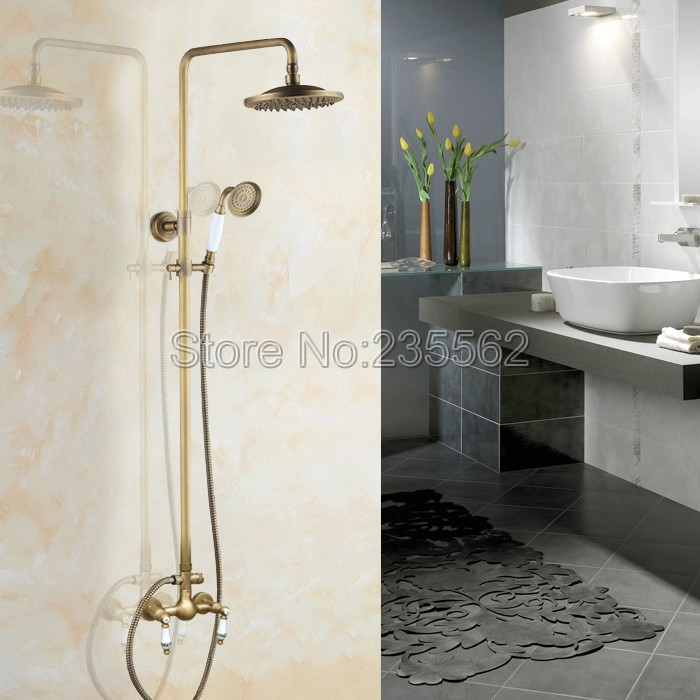 Antique Brass Ceramic Handles Bathroom Wall Mounted 8 inch Rain Shower Mixer Faucet Set W/ Ceramic Handheld Shower Head lan108