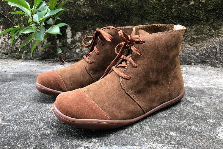 fecaff8e906e Imter frauen Stiefel Barfuß Schuhe Plus Größe 100% Echtes Leder Lace ...