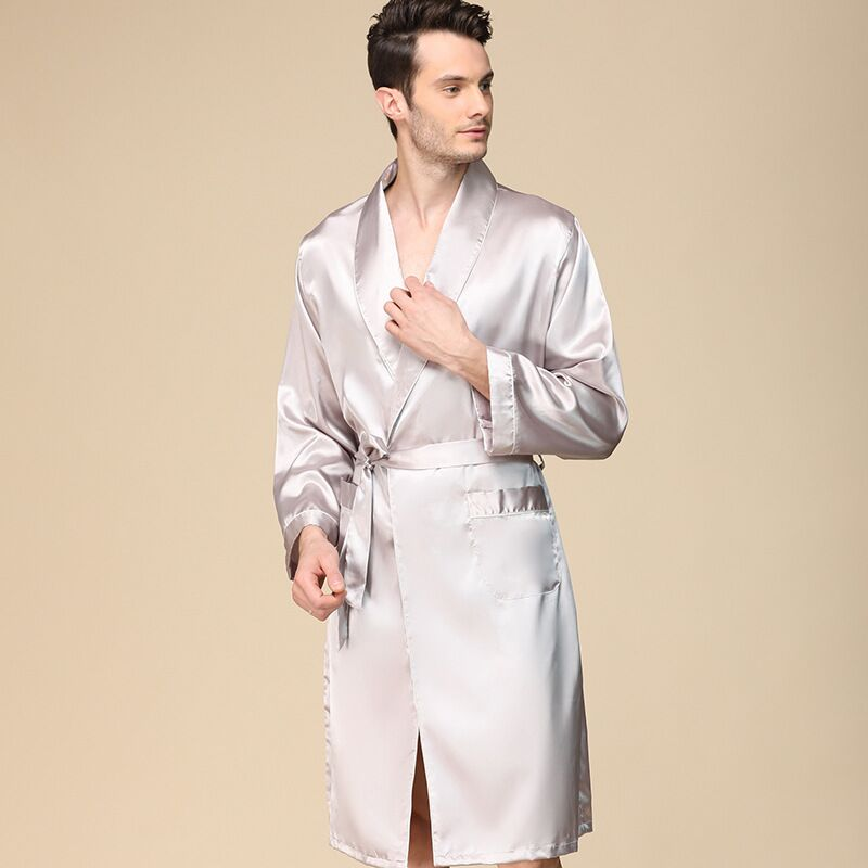 2019 New Mens Silk Satin Robes Pajamas For Men Long Sleeve Solid Sleepwear Kimono Male Bathrobe Leisure Men's Dressing Gown 3XL